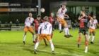01-02-2020: Voetbal: De Treffers v VV Katwijk: Groesbeek                 Grote kans voor Lowie van Zundert van De Treffers,net naast