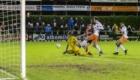 01-02-2020: Voetbal: De Treffers v VV Katwijk: Groesbeek              Keeper Ricardo Kieboom van VV Katwijk pakt goede kans  van Tjeu Langeveld van De Treffers