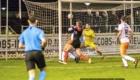 01-02-2020: Voetbal: De Treffers v VV Katwijk: Groesbeek           Coen Maertzdorf van De Treffers komt voor zijn man en prikt de bal in de kruising, 2-2