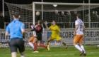 01-02-2020: Voetbal: De Treffers v VV Katwijk: Groesbeek                   Coen Maertzdorf van De Treffers maakt de 2-2
